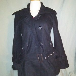 Moda International Black Pea Coat. Size Small.